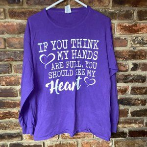 Purple White Graphic Mom Mother L/S T-Shirt L